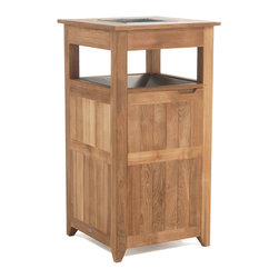 Westminster Teak Furniture - Palazzo Teak Trash Receptacle - Equip your pool or garden area with an attractive teak trash receptacle and give a mundane, but useful, receptacle some panache. Like a Hawaiian lanai, this beautifully crafted indoor/outdoor housing will keep your trash hidden and protected. Each ecofriendly trash receptacle comes with a powder coated aluminum open lid.