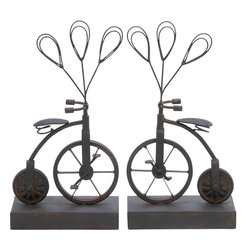Benzara - Photo Holder with Distinctive Pattern - Set of 2 - This metal small photo holder offers to be an attractive addition to your kid's room, bedroom and your living room alike. Unique design of a bicycle with 3 photo holders in a balloon shape offers a creative and imaginative way of putting up the pictures of your family and friends. Available in a set of two, the frame is made of the finest quality metal, brushed with a rustic finish to give an antique feel to it. It is durable, robust and promises to be with you for a long time to come. Put up your craziest pictures on it and you're sure to win accolades for your imagination and creativity from your guests. Not only does it help in reminding you of cherished memories but it also proves to be a graceful addition to your decor.