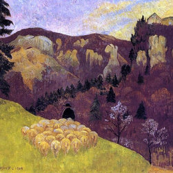 "Paul Serusier The Flock in the Black Forest - 16"" x 20"" Premium Archival Print - 16"" x 20"" Paul Serusier The Flock in the Black Forest premium archival print reproduced to meet museum quality standards. Our museum quality archival prints are produced using high-precision print technology for a more accurate reproduction printed on high quality, heavyweight matte presentation paper with fade-resistant, archival inks. Our progressive business model allows us to offer works of art to you at the best wholesale pricing, significantly less than art gallery prices, affordable to all. This line of artwork is produced with extra white border space (if you choose to have it framed, for your framer to work with to frame properly or utilize a larger mat and/or frame).  We present a comprehensive collection of exceptional art reproductions byPaul Serusier."