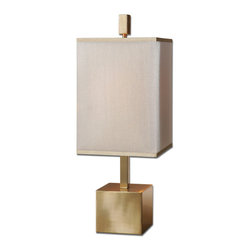 Uttermost - Flannigan Brass Accent Lamp - Brushed brass plated metal. The double square hardback shades are a golden champagne inner shade with a warm champagne, silken sheer outer hardback shade.