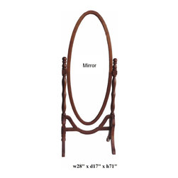 Chinese Oval Shape Rose Wood Floor Mirror Home Deco - This is an oval shape floor mirror which is made of rose wood which is also called HuaLi Mu in China. It can be put in your living room or bathroom.