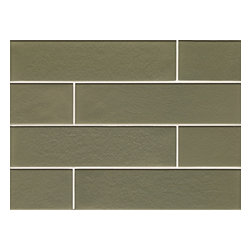 Spa Glass - Olive 2x8 Matte Glass Subway Tile BOX - A more subdued frosted or matte version of deep green, Olive 2x8 Glass Subway Tile is a vibrant and lustrous glass tile rich in dimension with it own unique color and foil backing for a distinctive resonance. 8 mm thick and priced per 8X16 sheet or piece, each tile is .914 sq  Perfect for brightening any space, this is the ideal tile for a backsplash, kitchen tile or bathroom tile. The tiles are mesh mounted which allows for easy installation. The tiles are not pool rated but are typically used for wet areas (not warrantied for this usage), back splashes and feature walls. Each piece is an 8X16 tile (.914 square feet)and softly beveled. They come in boxes of 9.14 square feet or 10 sheets.The Price is per SHEET. The only purchase option is per BOX purchase which is 9.14 square feet or ten sheets. There is also a SAMPLE option ( one 2X8 tile only) so you can confirm the color is perfect for your space.