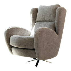Famaliving famaliving romeo grey fabric upholstered swivel chair