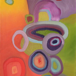 """Oops! ScuseMe!"" Artwork - Colorful abstract oil painting on gallery-wrapped canvas with painted edges.  Ready-to-hang with wire and bumpers on the back; can also be framed."