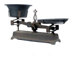 Consigned Antique Cast Iron Balance Scale - Large Rustic - This large decorative cast iron two-pan balance kitchen scale has a rustic base and is perfect on its own or as a display for other items. We love the look of these, somewhere between industrial and French Farmhouse!