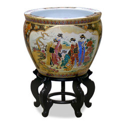 China Furniture and Arts - 18in Hand Painted Satsuma Design Fishbowl - This beautiful fishbowl is made in Satsuma style, which elaborately employs the use of gold. The center scene depicts Japanese courtesans leisurely spending their time in the garden. It gives a plant a decorate place to call a home. Stand sold separately.