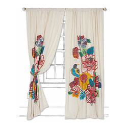 Botanica Curtain - These embroidered curtains from Anthropologie would certainly add a punch of color to my living room.