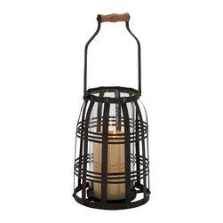 Glamorous Stylish Metal Glass Candle Lantern - Description: