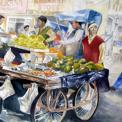 Bruce Black - The Mango Seller, Watercolor Painting - The Mango Seller, watercolor on paper, 23″ X 30″.  This is a beautiful watercolor painting of a crowded street market. It mixes both cool and warm colors and makes a statement in any room.