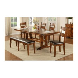 Winners Only - Mango Trestle Dining Table w 4 Chairs - Includes table and four side chairs. Bench sold separately. One 18 in. butterfly leaf. Walnut finish. Table: . Table minimum: 44 in. L x 74-92 in. W x 30 in. H. Table maximum: 44 in. L x 92 in. W x 30 in. H. Chair:. 19 in. W x 20.5 in. D x 40 in. H