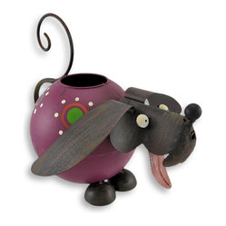 Whimsical Hand Painted Folk Art Dog Watering Can - Perk up your plants and your day using this whimsical watering can! Take this playful puppy to the sink and `fill `er up` through the large opening in the top, then watch the magical waterfall pouring out of the cleverly placed spout! With big round eyes, floppy ears and a cute curly tailed handle, this is one watering can you`ll want on display at all times! It is crafted of metal and hand painted with weathered appeal. It measures 8 1/4 inches tall, 9 inches long and 10 inches wide, and makes an excellent gift for a gardener!