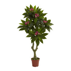 """Nearly Natural - Nearly Natural 5' Plumeria Tree UV Resistant (Indoor/Outdoor) - Put simply, this beautiful Plumeria tree will become one of your favorite pieces of decor. Standing 60"""" high (that's five feet), it has an authentic looking trunk that rises and splits, resulting in several layers of beautiful leaf / flower blooms. This tree is fully UV resistant, meaning it'll look great both indoors and out, with nary a drop of water. Perfect for both home and office, this lovely tree also makes a fine gift."""