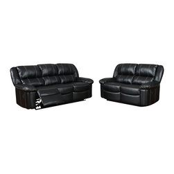 Global Furniture USA - U9966 Black Bonded Leather Three Piece Sofa Set With Built-in Recliners - The U9966 sofa set has a traditional look with a modern design that works well in any decor. This sofa set comes upholstered in a stunning black bonded leather in the front where your body touches. Carefully chosen match material is used on the back and sides where contact is minimal. High density foam is used within the cushions for added comfort. The sofa set features built-in recliners on each piece for that added touch of relaxation. The sofa set includes a sofa, and chair only.