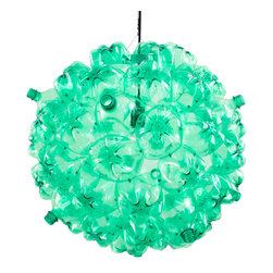 Souda - Bubble Chandelier, Green & Black - Originally inspired by the cell- like shape of soap bubbles, the Bubble Chandelier is made from post-consumer PET bottles that have been cleaned, cut, and riveted together. The entirety of the plastic bottles used to create the Bubble Chandelier are sourced through our partnership with Sure We Can, a Brooklyn based non-profit that runs the only homeless-friendly can redemption center in New York City. A portion of the proceeds from each light sold is donated directly to Sure We Can to help improve the conditions of their facility.