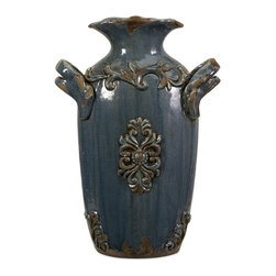 Large Rustic Ceramic Old World Blue Vase - *A hand-rubbed, aged finish embellishes the raised flourish accents of the small Cadet vase.