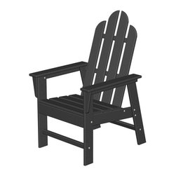 Polywood POLYWOOD® Long Island Chair in Black - Relax and enjoy Bring the easy comfort of a day at the beach to your outdoor living area with the stylish and sustainable Long Island Patio Chair inspired by the classic Northeast Adirondack with a twist of modern design. You don't need a house in the Hamptons to create your own breezy get away with these classically styled pieces constructed from HDPE material – an incredibly durable material made from post-consumer bottle waste, such as milk and detergent bottles. Solidly constructed with stainless steel hardware, these pieces will stand the test of time and can withstand the elements with very little maintenance.  The Long Island Patio Chair will not absorb moisture and requires no waterproofing, painting or staining to maintain their bright color for years. The colors are blended into the material all the way through, and are UV-resistant. Minimal assembly is required.  Dimensions: 26.5W x 29D x 42.5H   Care: Wash with mild soap and water. They can be power washed at pressures below 1,500 PSI.   Please allow 2-3 weeks to ship.