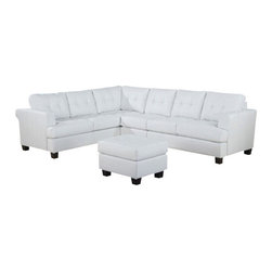 "Acme - 3-Piece Platinum Collection White Bonded Leather Sectional Sofa - 3-Piece Platinum collection white bonded leather sectional sofa with tufted back. This set features a 3-Piece sectional including the LAF love seat, corner, and RAF love seat. Additional armless chairs also available separately to make either side bigger. Measures 89"" x 89"" x 37"" D x 36"" H. Some assembly may be required."