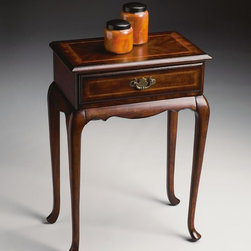 Butler - Butler Plantation Cherry Danica Console Table - Selected solid woods and choice cherry veneers. Four-way matched cherry veneer top with cherry veneer end grain border and maple veneer inlay. Similar treatment on drawer front. Antique brass finished hardware.
