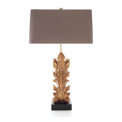 """Frontgate - Acanthus Table Lamp - One-way switch. Takes one 60-watt bulb. Includes dark gray lampshade. Cord measures 72"""". Clean with soft cloth or feather duster. Inspired by the detail of a corbel fitment, the Acanthus Table Lamp features the realistic curvature and traits of a large-scale leaf. Elegantly carved and gilded, the beautiful light rests on a solid ebony marble base.  .  .  .  .  . Handmade ."""