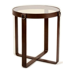 """Sarreid Ltd - Leather Belts Table by BSEID - Whether traditional, rustic or contemporary, you'll love the versatility this great table has. Its sturdy iron base is enhanced with leather strapping and brass accents. A glass table top keeps the look soothing. Add this next to most chairs for an airy update. (SAR) 20"""" diameter x 23"""" high"""