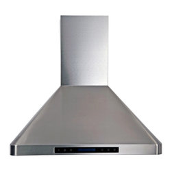 "Atlas International Inc - Euro Stainless Steel Range Hood 30"" - Cavaliere, Wall Mount - Cavaliere Stainless Steel 288W Wall Mounted Range Hood with 4 Speeds, Timer Function, LCD Keypad, Stainless Steel Baffle Filters, and Halogen Lights."