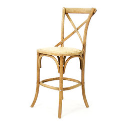 Parisienne Cafe Counter Stool - Natural Oak - A rustic effect brought straight from a family chateau in a hardwood forest is beautifully adapted to the trim urban shape of a high-backed counter stool. Constructed from oak which has been carved and bent with comfortable curves that show off its grain, the traditional stool is made with rounded corners and a cross-supported back leaned to a comfortable angle for dining.