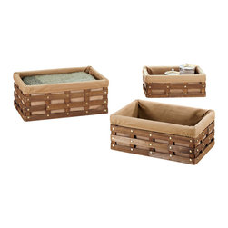 """Organize It All Inc. - Havana Rectangular Baskets - Set Of 3 - This set from the Havana Collection comes with three sizes of rectangular baskets. Decorative carving in wood strips gold metal accents and a brown twill liner. This is a nice ensemble to suit your storage and organizational needs. Dimensions:Sm: 14""""W x 9""""D x 5""""HMd: 16""""W x11""""D x 6""""HLg: 18""""W x 13""""D x 7""""H"""
