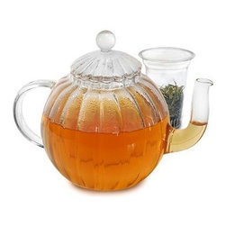 "Epoca - Glass Teapot Sophe 40 Ounce - Premium Sophe Glass Tea Pot with Lid and Infuser - The Sophe glass Tea Pot is a Premium top-seller. Tea Connoisseurs love the large capacity pot with elongated spout, glass lid and transparent globe design. The entire tea pot is hand blown by artisans in China and made of beautiful borosilicate glass, an industry leader in durability and thermal shock resistance. This technologically advanced glassware appears delicate, but it is actually stronger and more heat resistant than conventional glass. The pot's vertical linear design distinguishes it from other glass tea pots, enamoring all with its elegant sophisticated style. The round looped handle is also made of transparent glass and is crafted for easy, comfortable pouring. The crystal clear glass provides the perfect window to view flowering teas, or insert the included glass loose tea infuser to brew delicious loose tea. You""ll love serving tea as you watch the anti oxidant-filled hue of your liquid refreshment glide out of its"" elongated curved spout. The Sophe glass Tea Pot, with glass lid and infuser holds 40 generous ounces of your favorite tea."