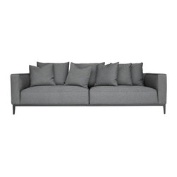 SohoConcept - California Modern Sofa by sohoConcept - California Sofa is a stylish two-seat sofa with cushions that offer extra comfort. The California sofa contains high density of foam in the seat and back cushion. To maintain a great level of comfortableness, pocket springs are placed in the seat cushion. The sofa is built on solid birch wood frame. The base is finished with black powder coating steel. The loose removable cushions are zippered and filled with down and feather. California Sofa is available in Black Pepper and Grey Brick cotton fabric as well as Brown Genuine Leather. The sofa is suitable for both residential and commercial use.