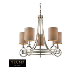 """Elk Lighting - New York 5-Light Chandelier in Renaissance Silver - Taking styling cues from the art deco period, the Trump Home New York Collection features clean lines and unique design elements. The lights are supported by rings that gracefully �float"""" around a larger double ring. Finished in renaissance silver leaf with cream fabric shades, this series is versatile and contemporary. Shades are optional on items with crystal."""