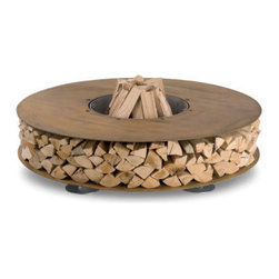 AK47 - Zero Fire Pit - This steel fire pit is ingenious. I love the modern, industrial construction that has a natural look because of convenient space below to store wood. Perfect if you want a fire pit and also need a good place to store the wood. The covering will also help keep the wood out of the elements.