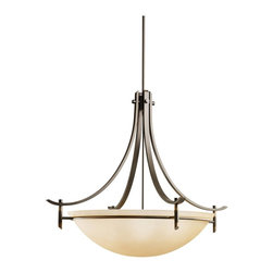 KICHLER - KICHLER Olympia Contemporary Inverted Pendant Light X-ZO9723 - This inverted pendant light from Kichler Lighting features warm, traditional finishes for a softened look. From the Olympia Collection, the contemporary curves are accentuated by the sunset marble glass shade.