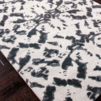 Foundations Chayse Dacoda White and Black Rug - 5' x 8' - Stark, shadowed fields of deep grey mottle the white surface of this Black Ink Rug from the Foundations collection designed by Chayse Dacoda. With a symmetrical landscape of light and dark that's half high-end hide, half Rorschach inkblot, this actively-patterned wool rug offers dramatic surface interest to define an arresting look in transitional homes.