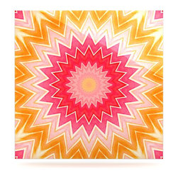 "Kess InHouse - Iris Lehnhardt ""You are my Sunshine"" Pink Orange Metal Luxe Panel (8"" x 8"") - Our luxe KESS InHouse art panels are the perfect addition to your super fab living room, dining room, bedroom or bathroom. Heck, we have customers that have them in their sunrooms. These items are the art equivalent to flat screens. They offer a bright splash of color in a sleek and elegant way. They are available in square and rectangle sizes. Comes with a shadow mount for an even sleeker finish. By infusing the dyes of the artwork directly onto specially coated metal panels, the artwork is extremely durable and will showcase the exceptional detail. Use them together to make large art installations or showcase them individually. Our KESS InHouse Art Panels will jump off your walls. We can't wait to see what our interior design savvy clients will come up with next."