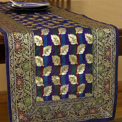 """Elegant Table Runners - """"Luxurious Satin Table Runner"""" from Banarsi Designs. King Blue color. Stunning vibrant delicate silk with adorable hand embroidered shapes. Made in India. Gold"""