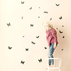 Mini Butterflies - Black - With our decorative WallStickers, it is easy to create a new look and change the style of a room in a matter of minutes. Can be applied to all even and smooth surfaces. Will not stick to rough surfaces, such as brick walls etc.