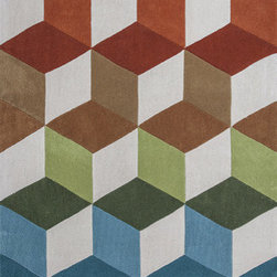 """KAS - KAS Zolo 3905 Kaleidoscope (Orange) 7'9"""" x 9'9"""" Rug - This Hand Tufted rug would make a great addition to any room in the house. The plush feel and durability of this rug will make it a must for your home. Free Shipping - Quick Delivery - Satisfaction Guaranteed"""