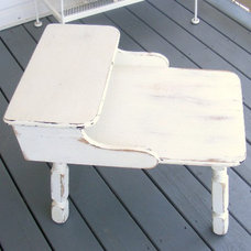 Traditional Kids Tables Vintage Shabby Chic White Distressed Cottage Nightstand by Perline Design