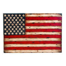 "Benzara - Metal Wall Decor with American Flag Replica - Metal Wall Decor creates a feeling of having something unique because of its unique design concept. It is appreciated by all the visitors. This is an excellent anytime low priced anytime Wall Decor upgrade option. Designed exclusively for limited edition, it can be fixed on any kind of wall surfaces.; Material: Rust free metal alloy designed in unique American flag replica; Color: Red, brown, white and black; Unique Exhibits special liking for home decoration; A class apart home decoration; Designed for elite class decor enthusiasts; Classic decoration that attracts everyone; Dimensions: 27.17""H x 38.98""W x 4.72""D (min. aprox. dimensions)"