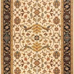 Momeni - Persian Garden Charcoal Rectangular: 5 Ft. x 8 Ft. Rug - Persian-inspired patterns in 100% New Zealand wool with hand-serged finishing. Momeni - PERGAPG-04CHR5080