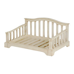 "Wooden ""French Country"" Pet Bed Frame, Medium - Influenced by the charm and beauty of rural France, this delightful French Country pet bed is a focal point that will accent your home décor! Distressed cream color finish gives this raised dog bed just the right welcoming and lived-in look, while complementing most interior designs."