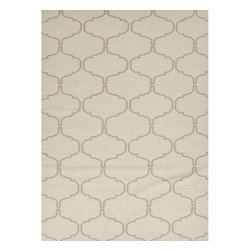 Jaipur Rugs - Jaipur Rugs Flat-Weave Moroccan Pattern Wool Ivory/Taupe Area Rug, 3.5 x 5.5ft - An array of simple flat weave designs in 100% wool - from simple modern geometrics to stripes and Ikats. Colors look modern and fresh and very contemporary.