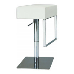 Chintaly Imports - Adjustable Height Swivel Stool - White - Features: