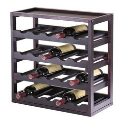 Kingston Stackable 20 Bottle Wine Rack Cube with Removable Tray - Create the customized wine storage you've always wanted with the Kingston Stackable 20 Bottle Wine Cube. This wine rack features a 20-bottle capacity accommodating a single standard-size wine bottle in each of its 20 slots. Each shelf is comprised a removable five-bottle tray for easy access and organization. This modular wine rack can be easily stacked or arranged side by side with multiple units so you can furnish your own wine cellar or add attractive wine storage to a countertop or open floor space. This wine cube is crafted from solid wood and wood composites all finished in a bold rich espresso wood stain for lasting beauty.About Winsome TradingWinsome Trading has been a manufacturer and distributor of quality products for the home for over 30 years. Specializing in furniture crafted of solid wood Winsome also crafts unique furniture using wrought iron aluminum steel marble and glass. Winsome's home office is located in Woodinville Washington. The company has its own product design and development team offering continuous innovation.