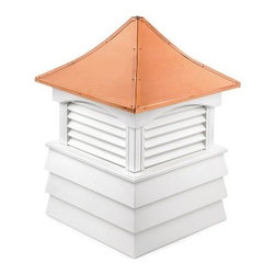 Good Directions Sherwood Vinyl Cupola - The Good Directions Sherwood Vinyl Cupola allows you to add a jaunty accent to you home's roofline or a little ventilation to a shed or barn. Made from vinyl planks and boards, the cupola features a louvered design for airflow and is naturally resistant to the elements. The unit comes unfinished; customize with your own paint or display as is. Sturdy 24-gauge copper covers the roof, with the option to attach a weathervane. 18, 22, 26, 30, 36, 42, 48, 54, 60, 72, and 84-inch square units are available to choose from. Instructions for mounting the unit are included. Mounting hardware for a weathervane attachment is also included.About Good DirectionsGood Directions got its start by creating weathervanes and cupolas, but it has expanded its line to include a wide range of decorative yet functional products for the home and garden, including popular Fire Domes, rain chains, and garden weathervanes. The company continues to attract innovative artists and designers eager to lend their vision to the creation of exceptional products to enhance the home, both indoors and out. No matter which way the wind blows, you can count on Good Directions to show you the way to a beautiful home.