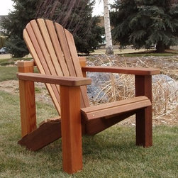 Wood Country Adirondack Chair - When you have one of those rare moments when you can sit back and relax do so in the Wood Country Adirondack Chair. You're in for a special treat with this chair that features a contoured back and seat that conforms to your body for ultimate comfort. The kiln-dried Western Red cedar is finished with a high-quality oil-based weather stain. With 4 x 4-foot legs 2 x 6-foot arms and a 2 x 4-foot frame construction you won't have to worry about the chair blowing away or collapsing. The back and seat angles are designed to soothe stiffness and provide premium relaxation. The chair's 15-inch seat height makes it easy to slide into; assembly is a snap taking about an hour. This chair is made for total comfort and relaxation. About Cedar WoodWho doesn't enjoy the sweet aroma of cedar wood? Of course there is much more to cedar wood than its scent. Cedar wood's natural oils offer a defense against insects and resist rotting and fungal attack. Cedar wood is lightweight and resistant to cracking and moisture rot. Many manufacturers of outdoor furniture select cedar wood either as a finished or unfinished wood. Cedar left outdoors often weathers to a silvery gray patina but that natural process won't reduce the strength or integrity of the wood. Cedar also has a minimal effect on the environment. Cedar wood emits low greenhouse gases making it a renewable resource. So rest assured knowing that your beautiful cedar furniture is also a green choice. About Wood CountryFine handcrafted outdoor furnishings are what Wood Country is all about. They manufacture a complete line of outdoor furniture and accessories made of clear kiln-dried Western Red cedar. Each piece is hand-crafted and finished with a high-quality penetrating oil weather stain. Wood Country offers their customers choices allowing them to create their own custom environment perfectly suited to enjoy their leisure time. Customers can choose the styles they like based on family need budget 