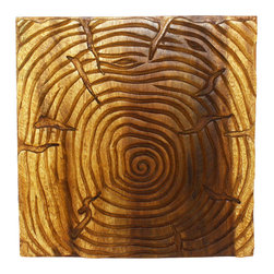 Kammika - Wall Panels Tree of Life Solid 18x18 inch Set of 3 w Eco Friendly Livos Oak Oil - This Sustainable Monkey Pod wood with Eco Friendly Natural, food-safe Livos Oak Oil Finish Wall Panels Tree of Life Solid 18 inch x 18 inch x 1 inch tri-panel set shows the body of the tree, tree trunks, the branches, and life cycle slice with rings to count. Hand carved and then chiseled for a 3D look, each panel in this set of 3 panels is 18 x 18 x 1 inch Depth (Thickness), and has two embedded flush mount Keyhole hangers on the back. Finished with Livos Oak Oil, a highly water resistant and food safe finish, the light and dark portions of wood turn to darker shades of brown over time and the alkaline in the oils creates a honey orange color. The concept of a many-branched tree has been used in science, religion, philosophy, and mythology. The Banyan and Peepal trees are both are considered the trees of life. The Banyan symbolizes fertility; it is also referred to as the Tree of Immortality. Each panel in this set of 3 is hand carved - no two are alike. We make minimal use of electric hand sanders in the finishing process. All products are dried in solar or propane kilns. No chemicals are used in the process, ever. We use only certified Green Livos oils - eco friendly, all natural, water resistant, and food-safe - from Germany. After each Monkey Pod wood (Acacia, Koa, Rain Tree grown for wood carving) piece is kiln dried, carved, sanded, and finished, they are packaged with cartons from recycled cardboard with no plastic or other fillers. No chemicals are used in the process. Made from the branches of the quick-growing Acacia tree in Thailand - where each branch is cut and carved to order (allowing the tree to continue growing), the color and grain of your piece of Nature will be unique, and may include small checks or cracks that occur when the wood is dried. Sizes are approximate. Products could have visible marks from tools used, patches from small repairs, knot holes, natural inclusions or holes. There may be some slight variation in size, color, and finish. Only listed product included.