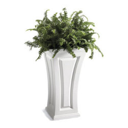 "Grandin Road - Cambridge Tall Planter - Weather-resistant, high-grade polyethylene. Looks like wood, but never needs painting. Equipped with an insert for a 10"" potted plant. 8-gal. soil capacity. Our Cambridge Tall Planter is so care-free you'll never reach for a paintbrush again. Frame your front door with these curvy planters: this weather-defying, double-walled polyethylene looks like raised-panel wood, but will never crack, chip, or peel.  .  .  . . ."
