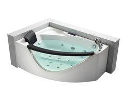 EAGO - EAGO AM198-R 5' Right Drain Rounded Clear Modern Corner Whirlpool Bath Tub - We are very excited to offer you this breath taking AM198-R EAGO whirlpool bath tub! The design has changed the concept of bathtubs to something like a 'pool' and makes you feel so close and intimate with water. It will release your natural deep desire for the basic element of life; H2O.This tub features a beautiful design which will add the finishing touches to any bathroom. We are confident that you will indulge in a state of complete relaxation and tranquility with all the features that this tub has to offer. Be prepared to purchase luxury at its finest!