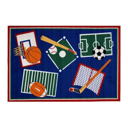 Fun Rugs - Sports A Rama Kids Multicolor Rug - Your child's room is a natural extension of them. Add these innovative designs from LA Rug to spruce up any child's decor.
